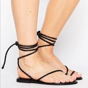ASOS tie leg braided black sandals